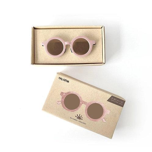 Kids Bay Sunnies by Mrs Ertha Pink Flamingo sustainable round sunglasses