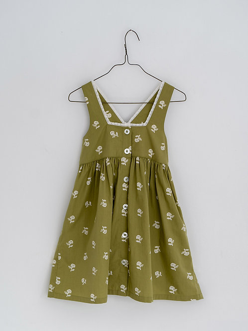 Dorcas Pinafore in Floral Samphire - Little Cotton Clothes