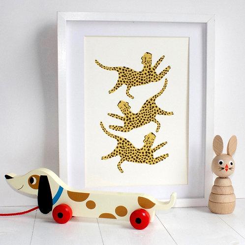 Dancing Leopard A4 Print - Eleanor Bowmer