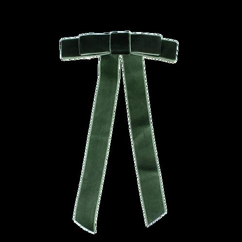 Big Velvet Bow in Bottle Green clip