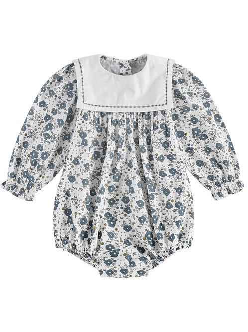 Maeve Sailor Collar Romper, Blue Floral - Little Cotton Clothes