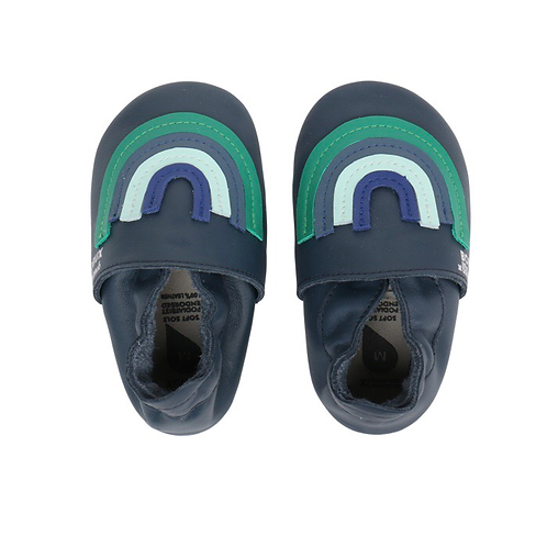 Bobux x Bonnie Mob Spring Rainbow Soft Soles Navy shoes