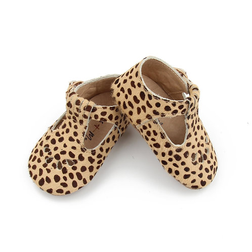 Sass + Me Leather Baby Moccasins Cheetah Print T-Bar leopard