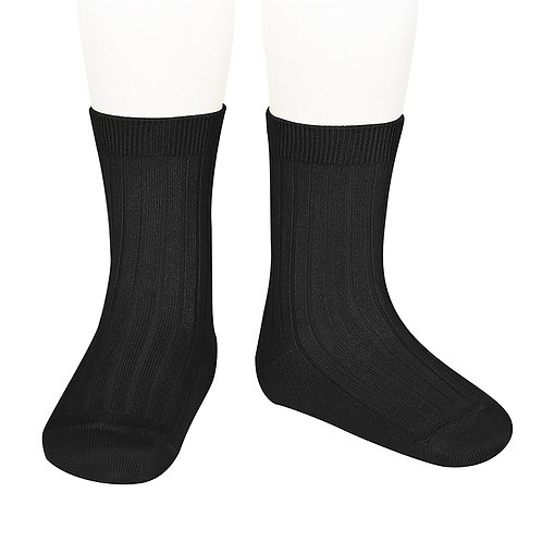 Adults Condor Ribbed Ankle Socks - Black