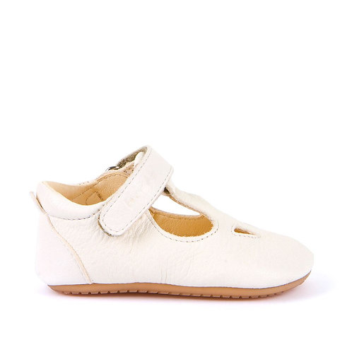 Froddo Soft Leather T-Bar Prewalkers -White