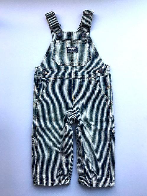 Vintage Original Osh Kosh Hickory Stripe Dungarees denim  9-12 Months