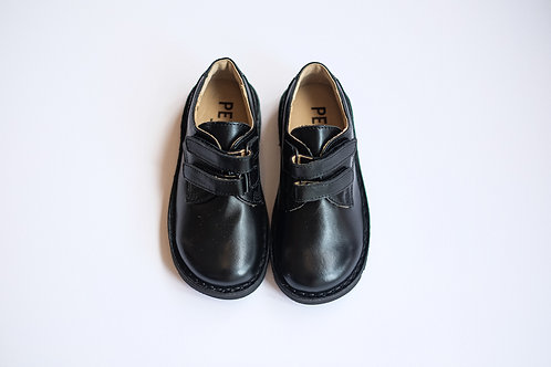 Petasil Paul Black Leather School Shoes velcro
