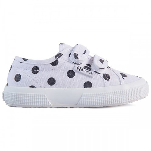 Superga Kids 2750 Classic Strap Fantasy Dots White Black girls trainers vans converse