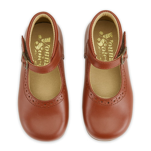 Young Soles Dolly Mary Jane Shoes - Cognac Leather