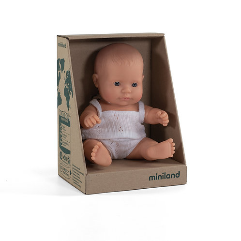 Miniland Caucasian Baby Girl Doll 21cm