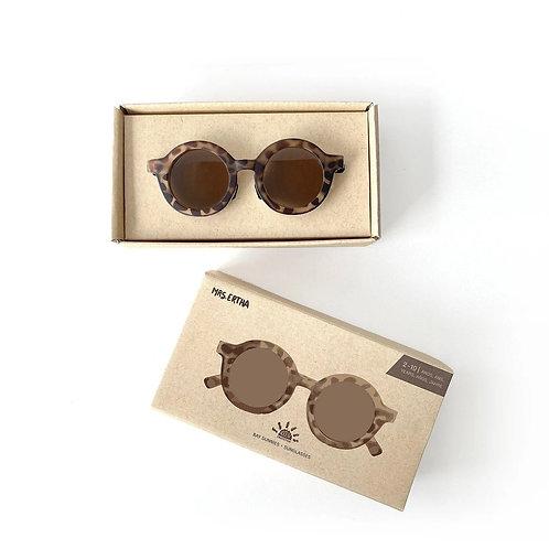 Kids Bay Sunnies by Mrs Ertha tortoise shell savannah sustainable round sunglasses