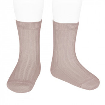 Condor Kids Ribbed Ankle Socks - Dusky Pink