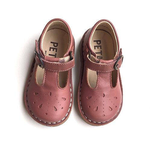Petasil Hidden Velcro T-Bars Old Rose Leather pink shoes