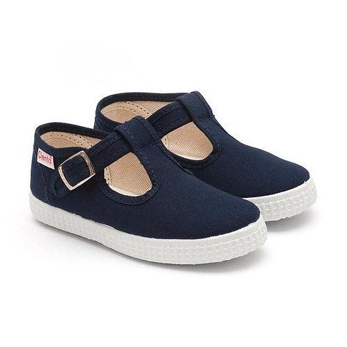 Cienta Canvas T-bar Pumps Navy trainers shoes