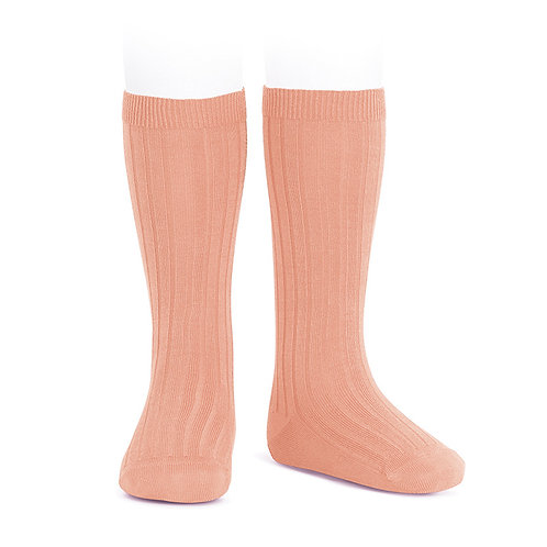 Condor Ribbed Knee High Socks Peach