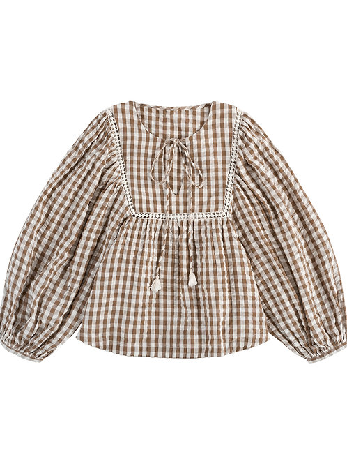 Women's Vivienne Blouse, Nut Gingham - Little Cotton Clothes