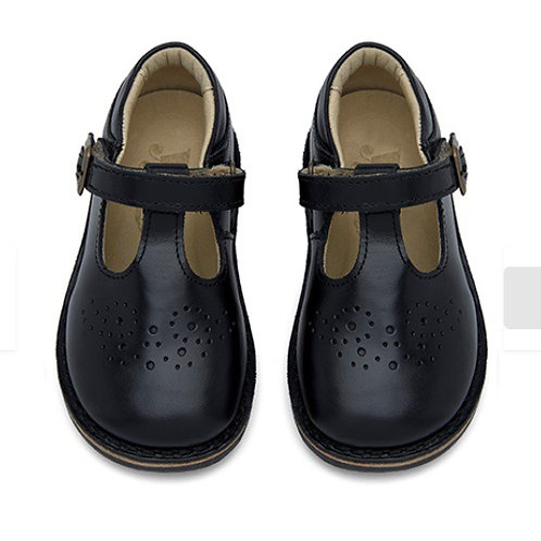Young Soles Penny T-Bar Black Leather