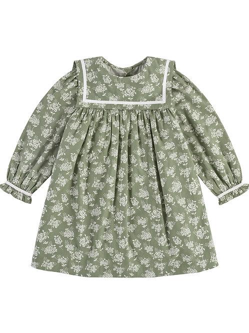 Jemima Sailor Collar Dress Green Floral Little Cotton