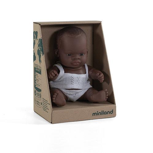 Miniland African Baby Boy Doll 21cm