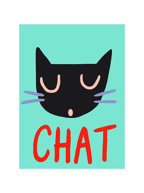 'Chat' A4 Wall Print by Wolfnoodle