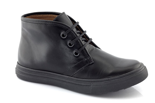 Froddo Boys Black School Shoes with zip and laces