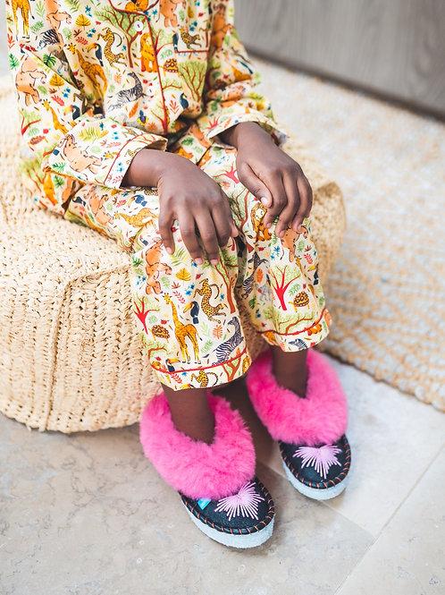 Kids Pink Sheepskin Slippers Sheepers