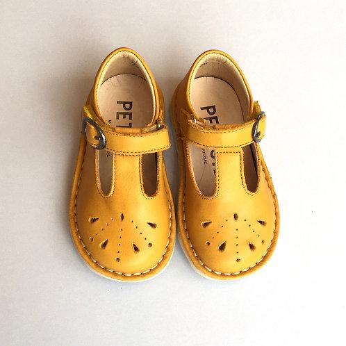 Petasil Mustard T-Bar Buckle with hidden Velcro shoes yellow