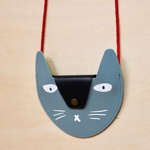 Leather Cat Purse in Blue kids bag by Ark Colour Design