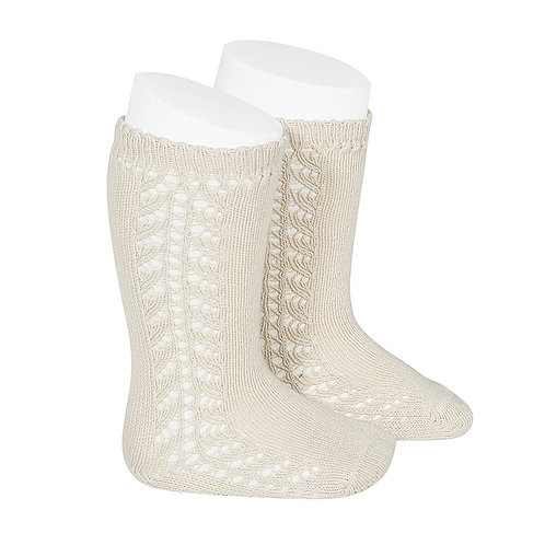 Condor Side Openwork Warm Knee High Socks Linen