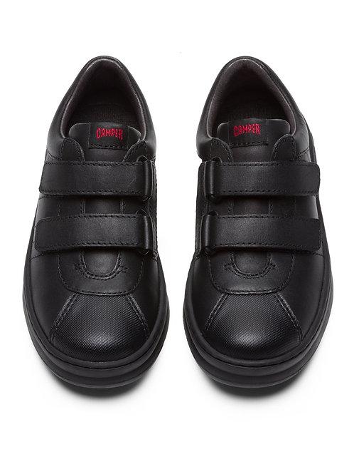 Camper Kids Runner Black School Shoes -Double Strap