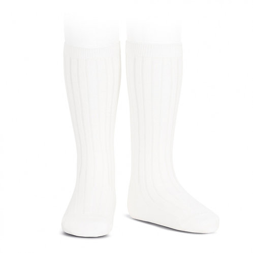 Condor Ribbed Knee High Socks - White