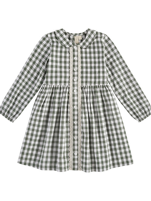 Agatha Dress Green Gingham Little Cotton