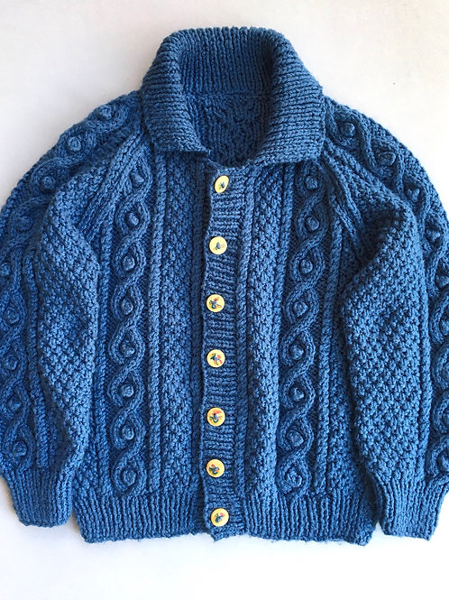 Vintage Hand knitted Aran Cardigan in French Blue - Age 4-6
