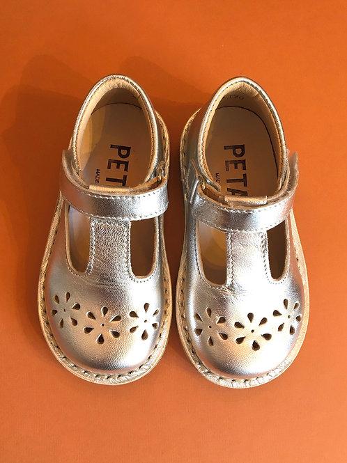 Petasil Cecily T-Bar Silver shoes