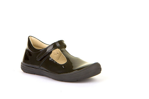 Girls Black Patent T-bar with Bumper Froddo velcro