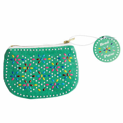 Retro Beaded Purse Green