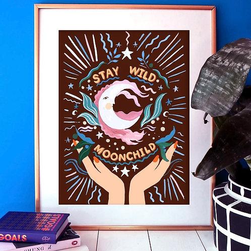'Stay Wild Moonchild' A3 Print - Eleanor Bowmer