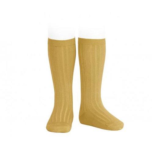 Mustard Knee High Ribbed Socks Condor