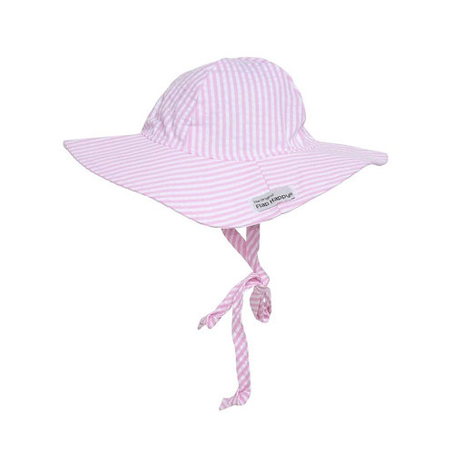 Floppy Hat by Flap Happy - Pink Seersucker Stripe (UPF 50+)