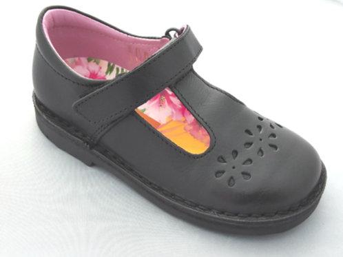 Petasil Clara T-Bar School Shoes Black Leather