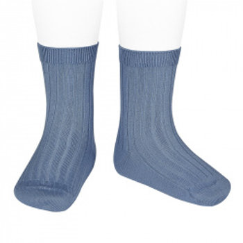 Condor Kids Ribbed Ankle Socks French Blue