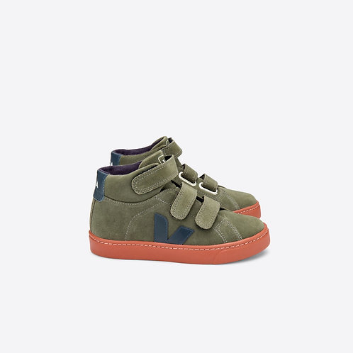 Veja Kids Esplar Mid Suede Green Mud trainers shoes