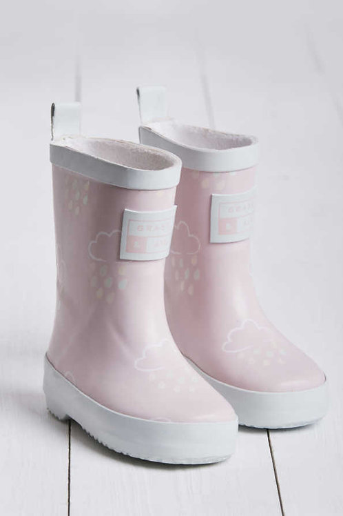 Baby Pink Colour Revealing Wellies by Grass & Air