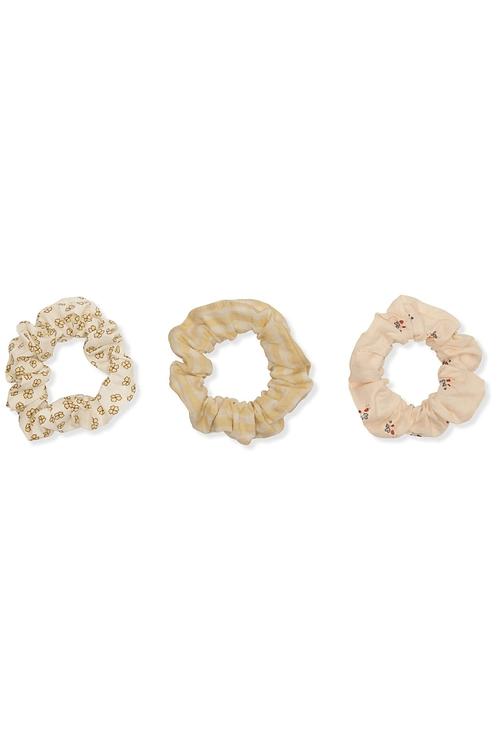Konges Slojd 3 Pack Big Scrunchies - Buttercup / Bloom / Yellow Check