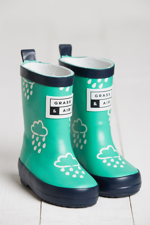 Green Colour Changing Raindrop Wellies by Grass & Air