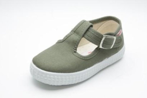 Cienta Jesse T-Bar Khaki green trainers