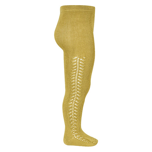 Condor Side Openwork Warm Tights Mustard yellow