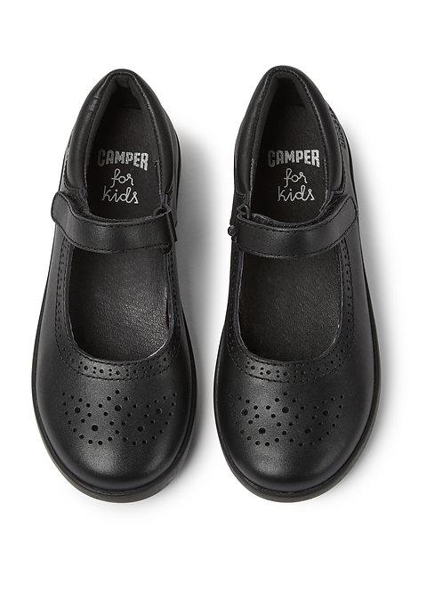 Camper Columbus Girls School Shoes - Black Leather