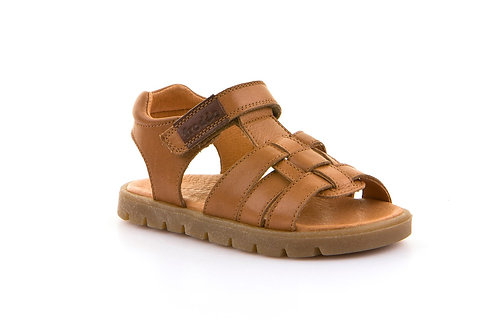 Froddo Leather Fisherman Sandal Open Toe Cognac tan brown leather velcro