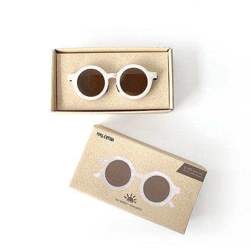 Kids Bay Sunnies by Mrs Ertha coconut white sustainable round sunglasses